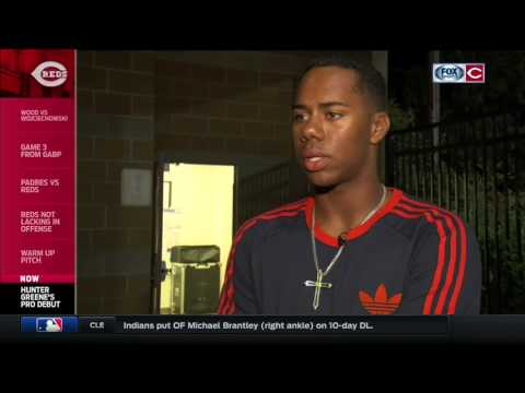 Cincinnati Reds draft pick Hunter Greene triples in pro debut & reacts to the moment
