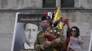 Flashmob Field Marshal Haig's Own Pipes & Drums - 100 Year Passchendaele  @ Brugge/ Bruges