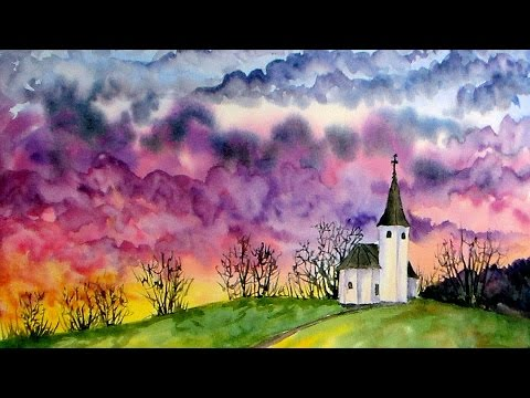 Live Watercolor: Chapel Sunset (Lots of color! sky ...
