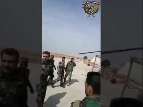 SYRIA:TIGER FORCES B/G SUHEIL AL-HASSAN DURING HIS INSPECTION OF THE FORCES STATIONED AT ABU DUHOUR