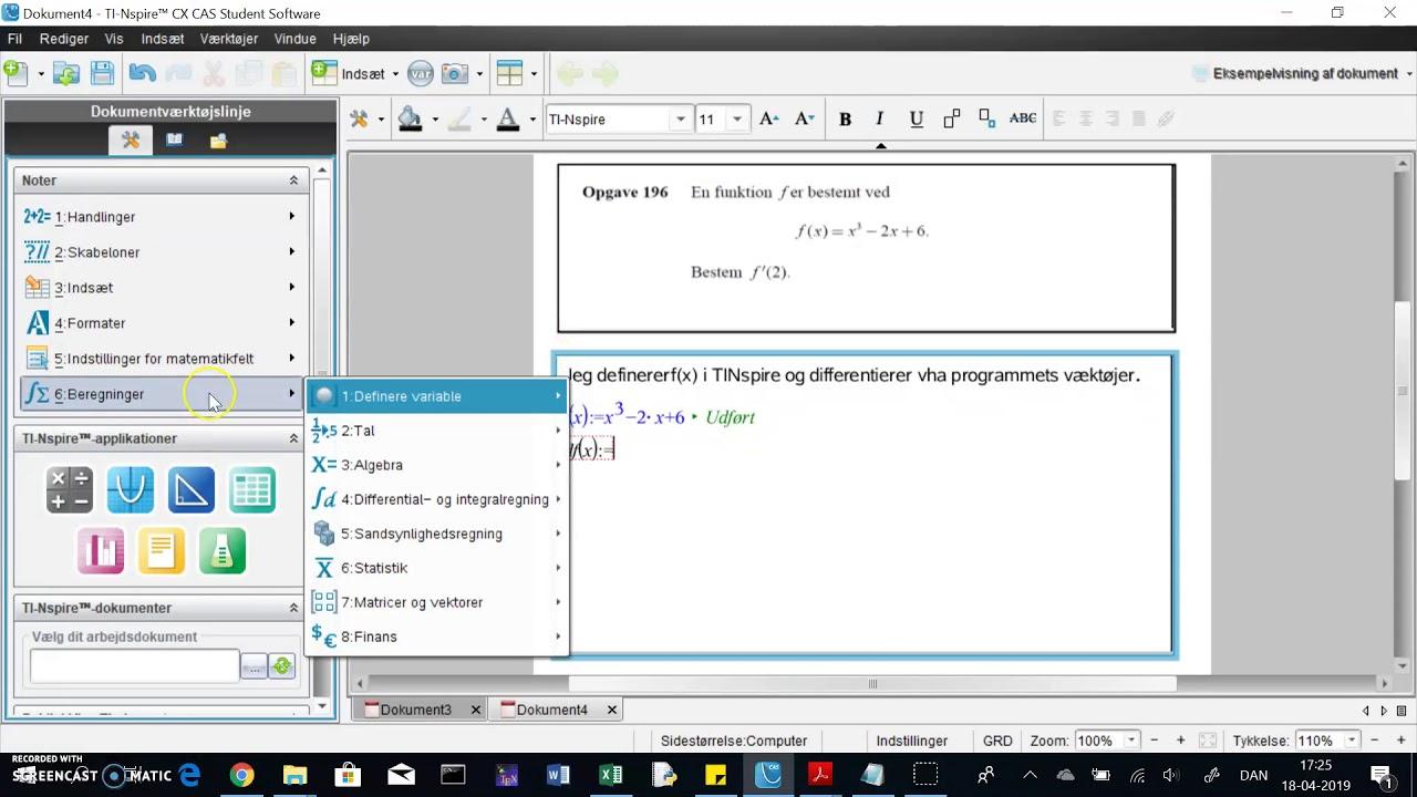 TINspire: bestem differentialkvotient i punkt - f.eks. f'(2)