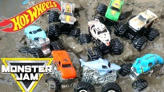Hot Wheels Muddy Monster Jam Trucks Series 4 Mystery Minis NEA Polic Crushstation PLAY in MUD!