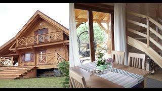 Dom drewniany całoroczny wnętrze - Aranżacja wnętrza domek Jutrzenka II wydłużona - Domek z bali