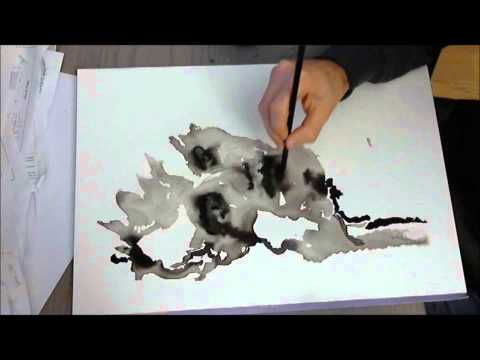 abstract portrait with india ink- full painting (encre de chine)