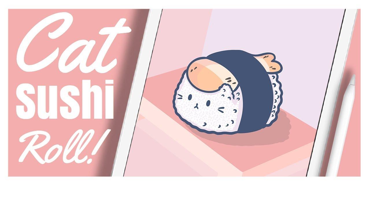 Cute Anime Wallpaper 😺🍣 (Procreate Digital Art)