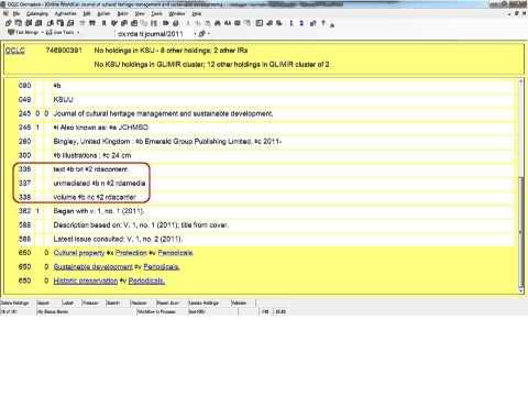 Resource Description & Access (RDA) Basics for Copy Catalogers