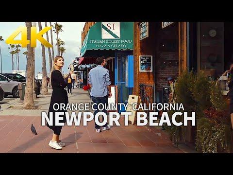 NEWPORT BEACH - Walking Newport Beach, Orange County, California, USA, Travel, 4K UHD
