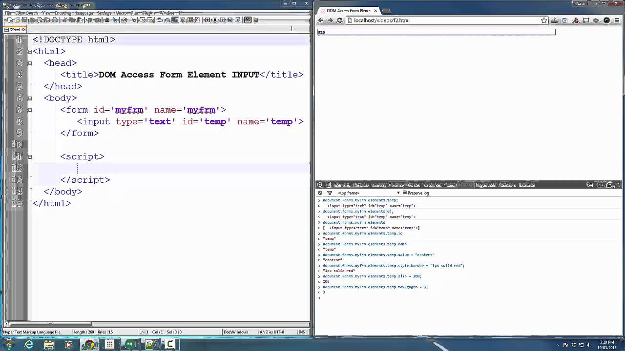 JavaScript Dom access Form element Text box - YouTube