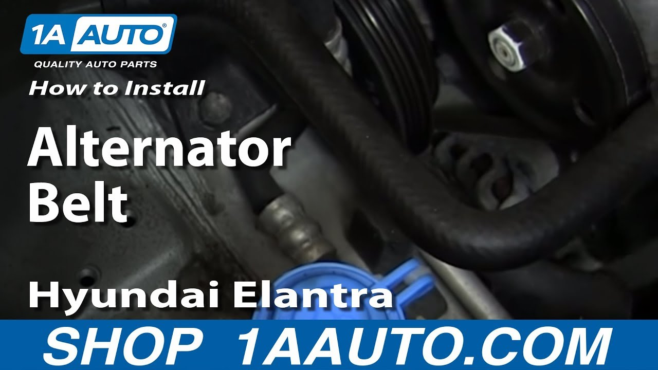 How To Install replace Alternator Belt 1999-06 Hyundai Elantra 2.0 ...
