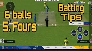 6 balls 5.fours in 1 over !! batting tips real cricket 19