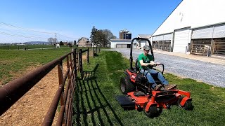 Mowing with the Toro & Hauling Manure
