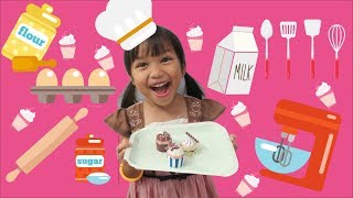 Laya and Biya Pretend Play Cooking Food Toys with Cupcake Paper Toys