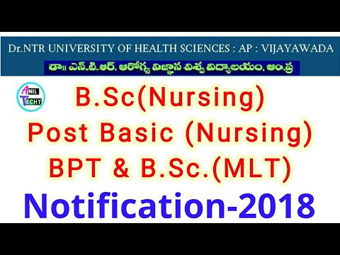 NTR university B Sc Nursing,PostBasic B Sc Nursing,BPT,MLT  Notification||bsc nursing application2018