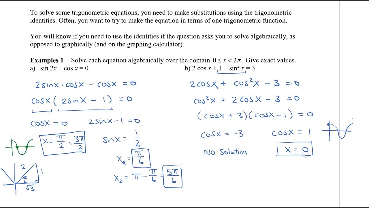 Math 12 - Sec 6.4 Solving Trigonometric Equations using Identities ...