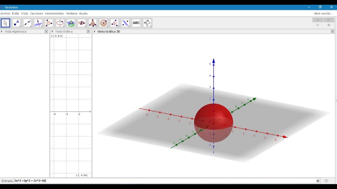 GRaficar Esfera en geogebra by James Parra