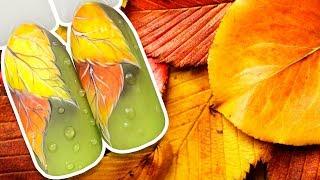 🍁 Осенние Листочки с Объёмными Каплями на Матовом Топе 🍁 Осенний Дизайн Ногтей Гель-лаком Маникюр