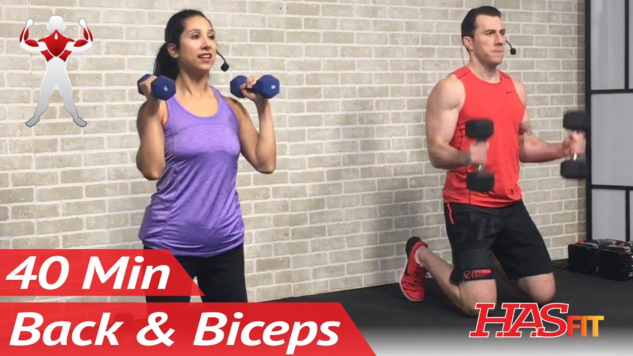 40 Min Back And Bicep Workout For Women Men Back And Biceps Exercises At Home With Dumbbells