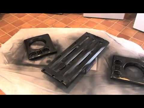 Spray painting a KBX Land Rover front Grill