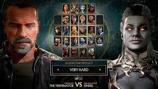 Mortal Kombat 11 Sindel Vs Terminator Gameplay Very Hard Difficulty MK11