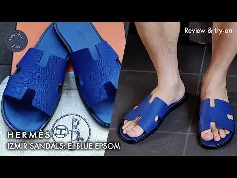 63247d38a85f3 Hermès Izmir Men s Sandals in Electric Blue Epson  Detailed review   try on