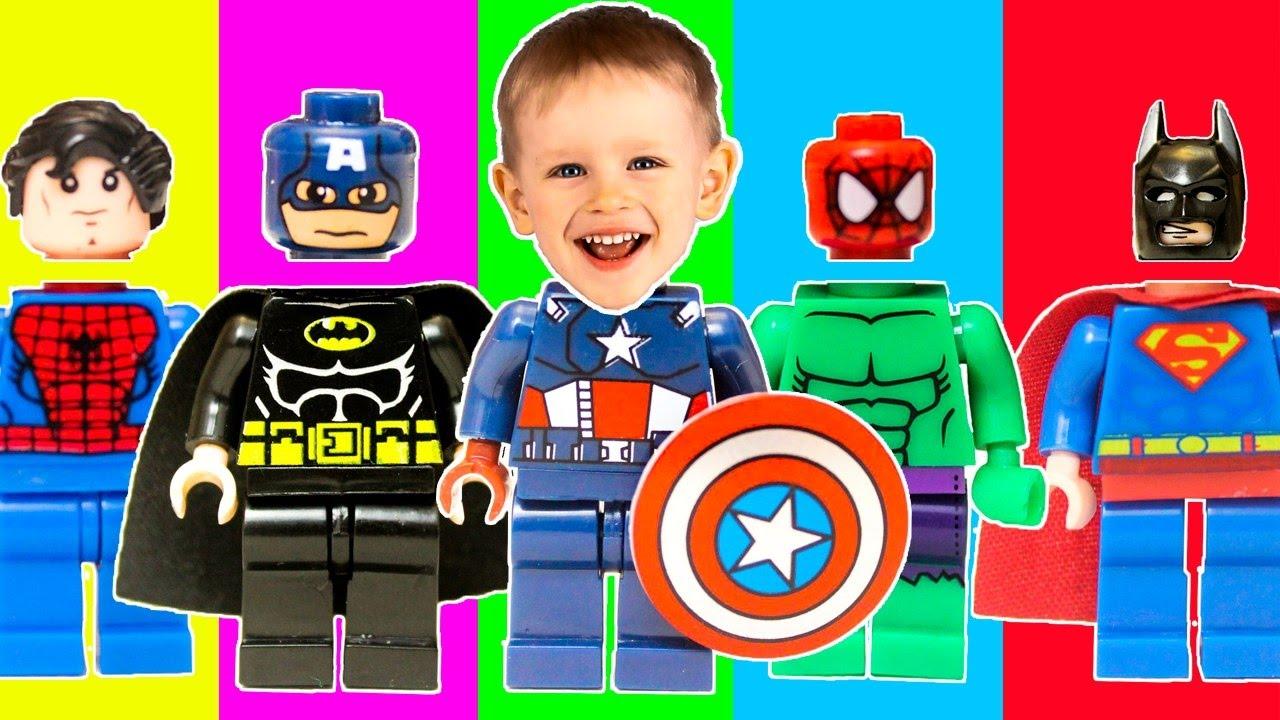Wrong Heads Lego.  Неправильные Головы Супергероев Лего.  Лего фигурки детский канал 2018 Гришка