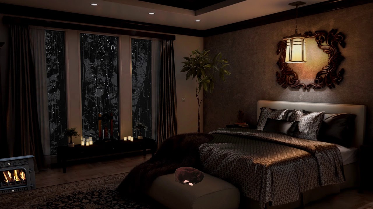 Cozy Bedroom Thunderstorm Heavy Rain Ambience 3 Hours Youtube