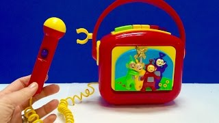 rare retro teletubbies tape recorder with microphone toy