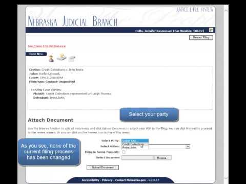 Nebraska Judicial Branch - eFile Demo