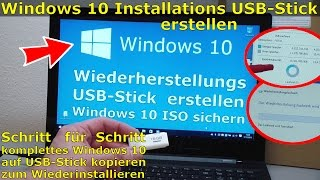 Windows 10 Recovery USB Stick erstellen zum Reinstallieren (Wiederherstellungslaufwerk)