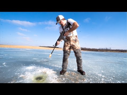 IDIOTS take GUNS Ice Fishing!!! (BAD IDEA)