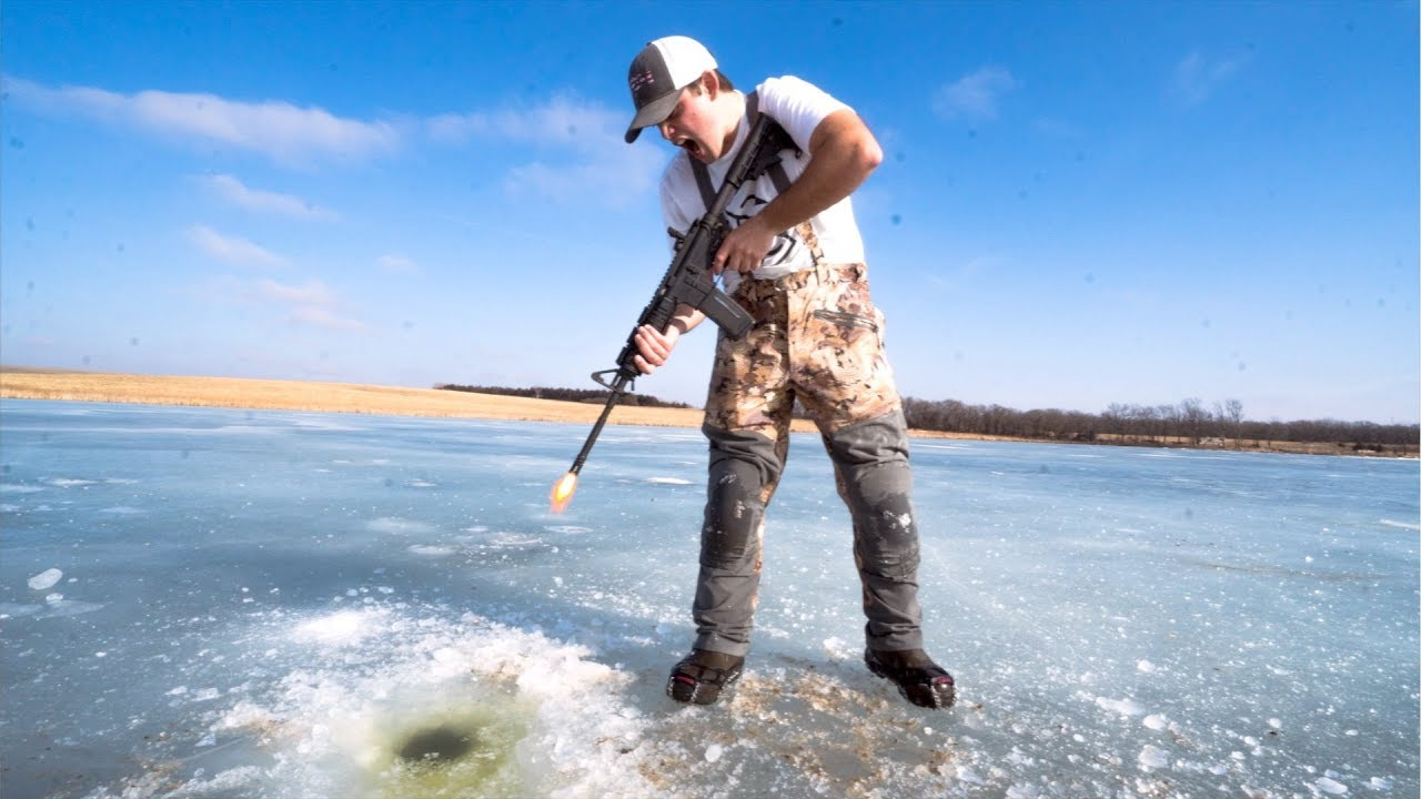 Idiots take guns ice fishing bad idea youtube for Ice fishing youtube