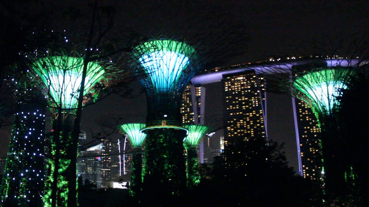 singapore garden by the bay night show flower dome light colors show youtube