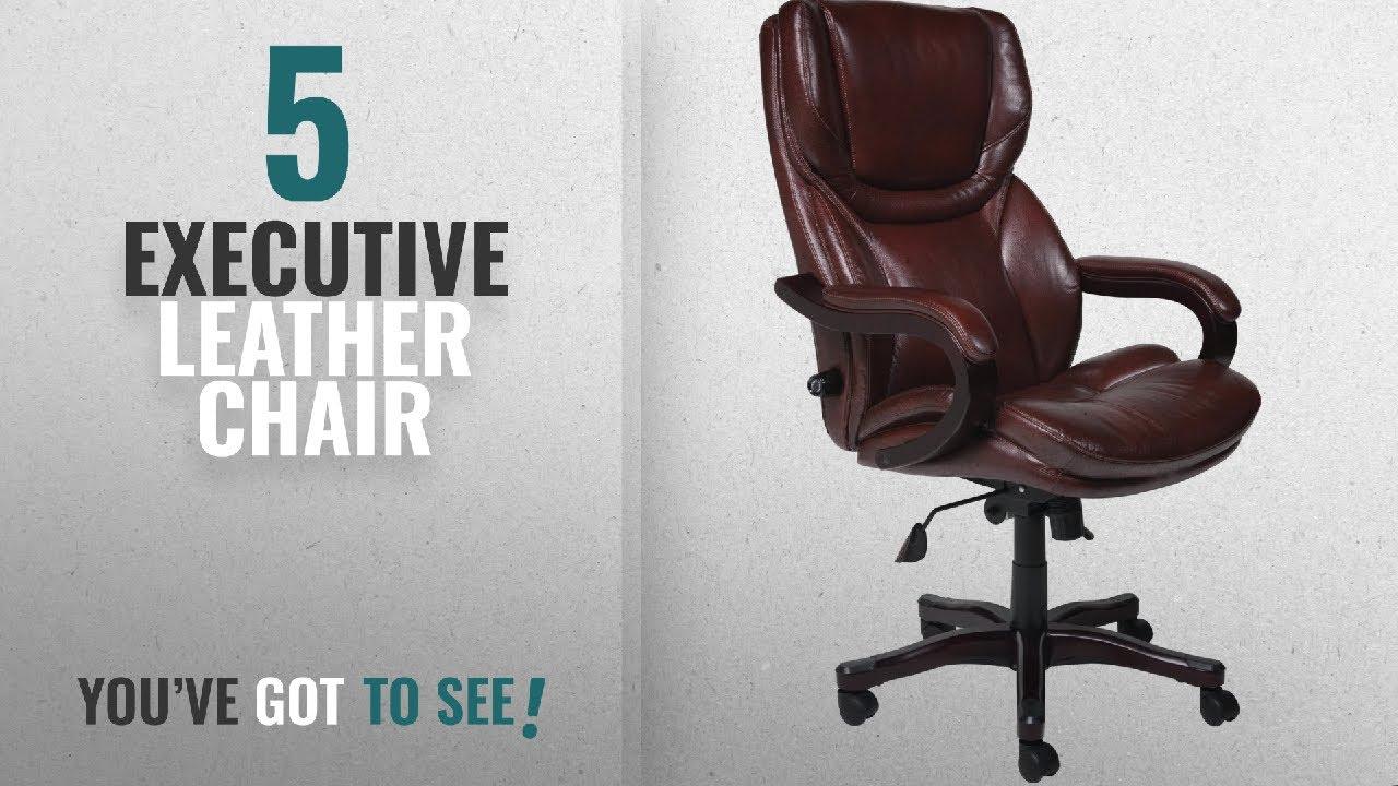 Top 10 Executive Leather Chair [2018]: Serta Bonded Leather Big U0026 Tall Executive  Chair, Brown