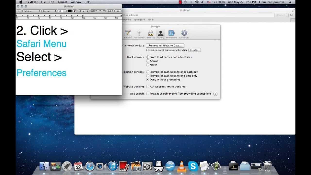delete cookies on a mac air