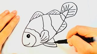 How to draw a Fish (Nemo) | Fish Easy Draw Tutorial