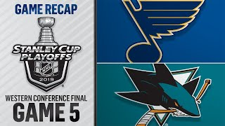Schwartz gets hat trick, Blues blank Sharks in Game 5