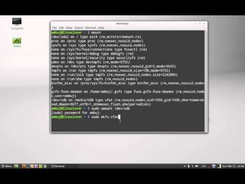 Format USB Flash Drive with command line in Linux Mint (Ubuntu)