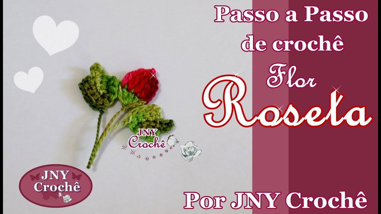 Aparador Rustico De Madeira Para Banheiro ~ Passo a Passo de croch u00ea Flor Roseta (bot u00e3o de rosa) por JNY Croch u00ea YouTube