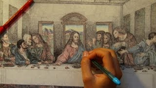 "Drawing ""THE LAST SUPPER PAINTING"" with Ballpoint Pen"