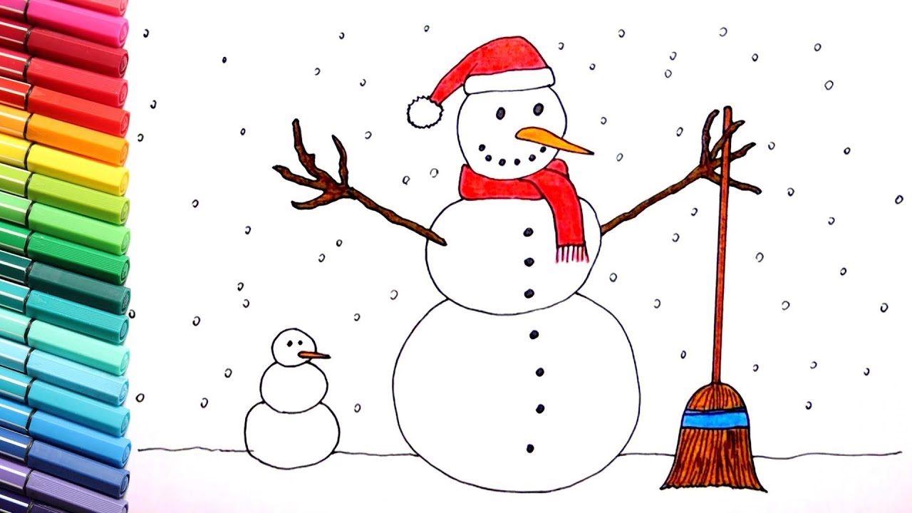 drawing and coloring snowman christmas color pages for children