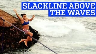 Slackline Tricks over the Waves | People are Awesome
