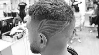 Мужская стрижка mid fade & hair tattoo