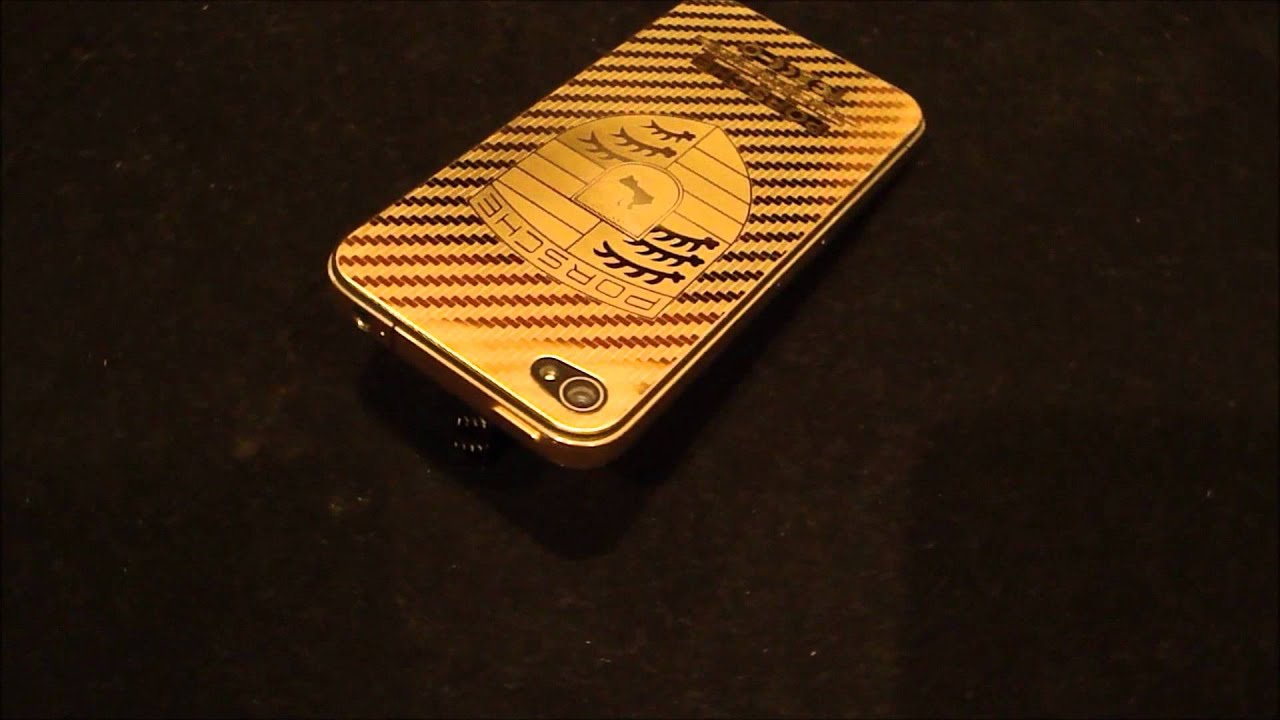 real 24k gold plated iphone 4 rear backplate porsche logo