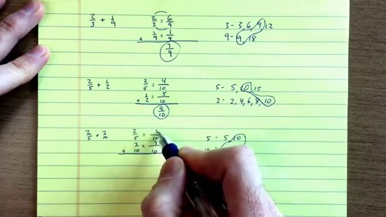 Add Fractions With Uncommon Denominators Using The Lcm