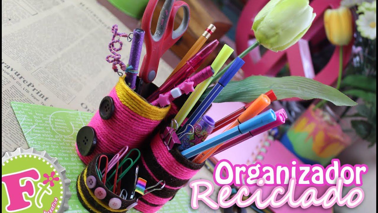 Organizador de escritorio reciclado youtube - Organizador escritorio ...