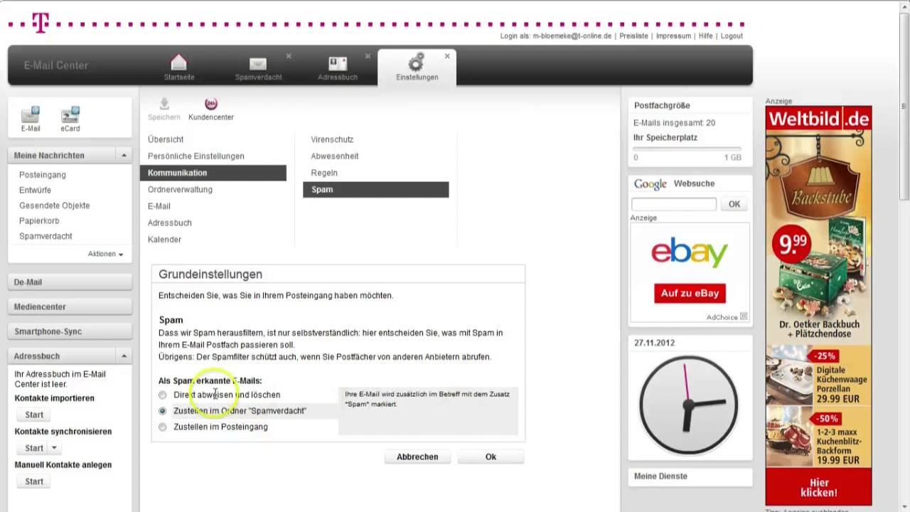 t online spam einstellungen ndern je nach optionen filtert t online freemail wichtige mails. Black Bedroom Furniture Sets. Home Design Ideas