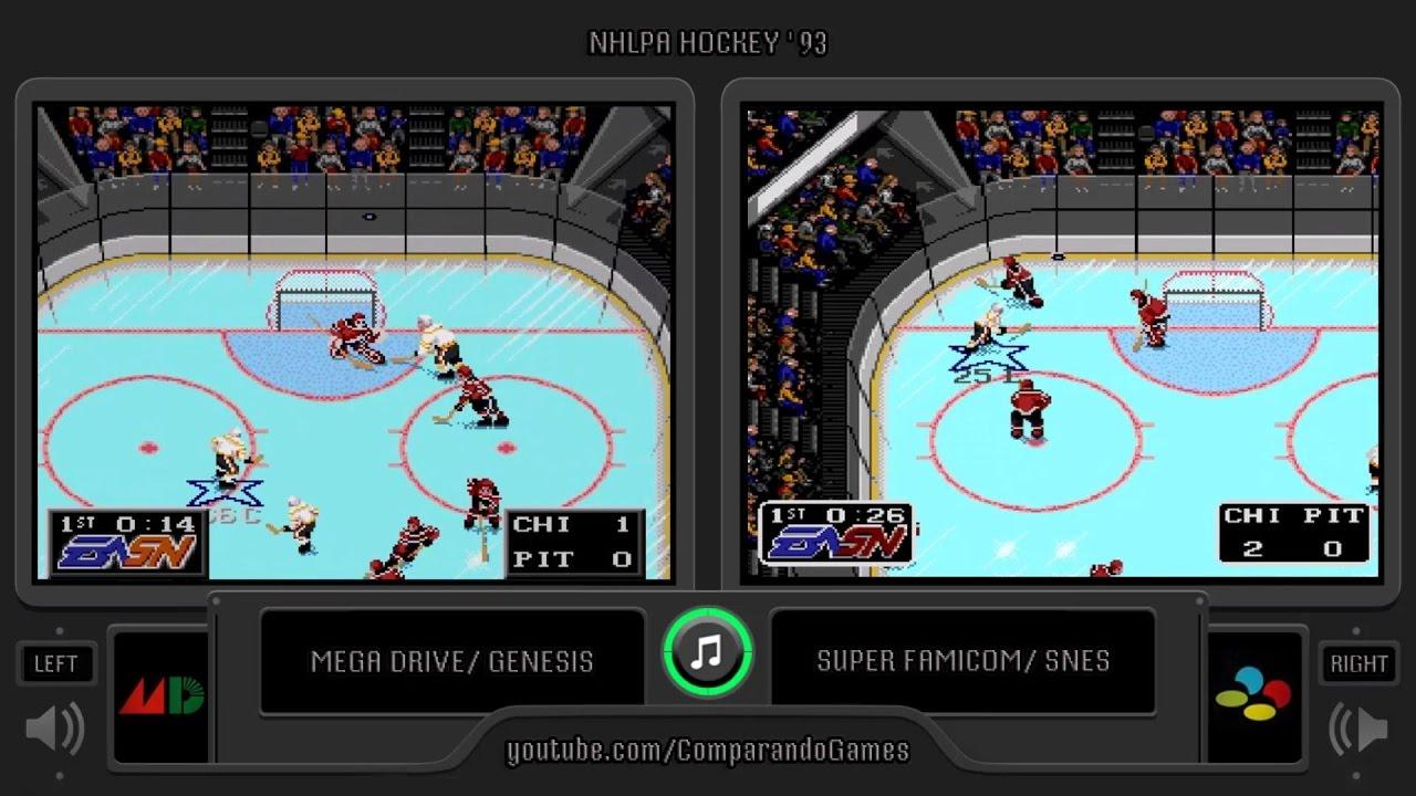 Nhlpa Hockey 93 Sega Genesis Vs Snes Side By Side Comparison Youtube