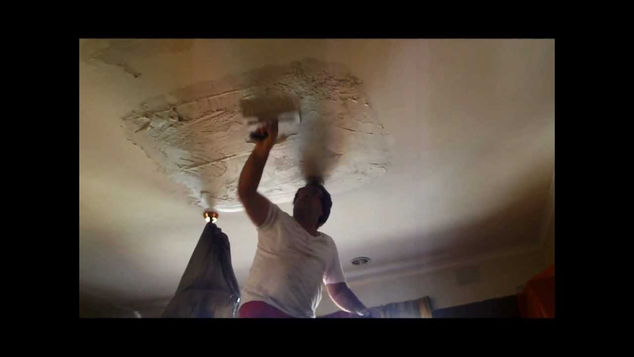 How to repair large hole in drywall - Plastering Repair Of Large Hole In Plasterboard Ceiling