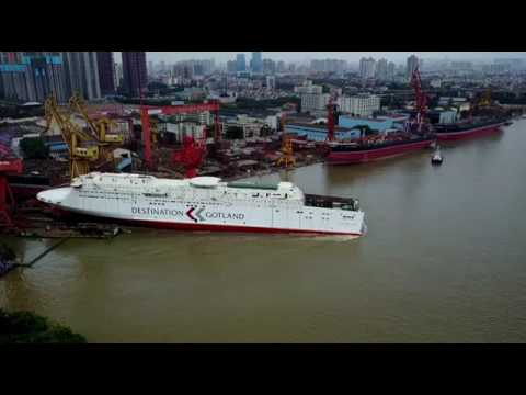 Launch of AB Gotland's new LNG ferry in China