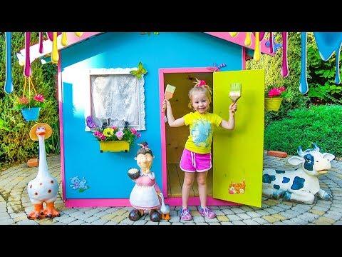袛械褌褋泻懈泄 懈谐褉芯胁芯泄 写芯屑懈泻 褋胁芯懈屑懈 褉褍泻邪屑懈 / Colorful playhouse for kids